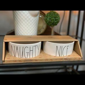 Rae Dunn LL Dog Bowls Naughty & Nice Christmas